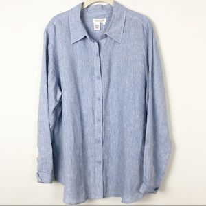Coldwater Creek 100% blue line chambray tunic top